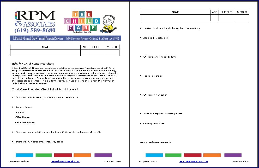 Child Care Provider Medical Safety Checklist