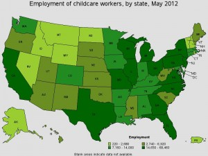 Employment of Child Care Workers, BLS, 2012