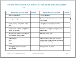 Before and After Hour Checklist