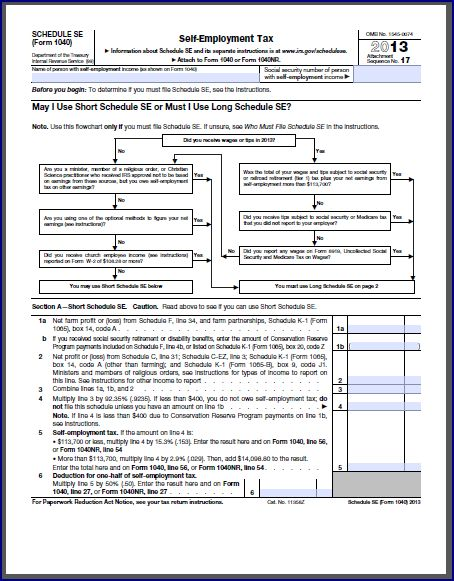 Self Employment Tax Form SelfEmployment Tax Sample Employee Tax