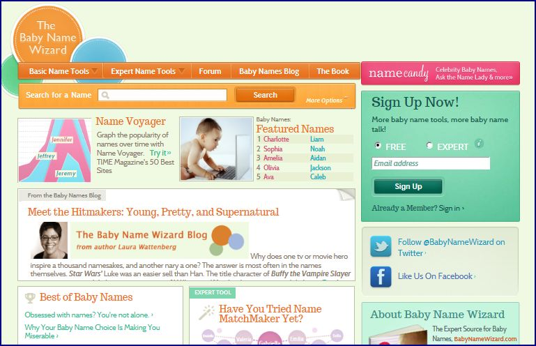 The Baby Name Wizard Website
