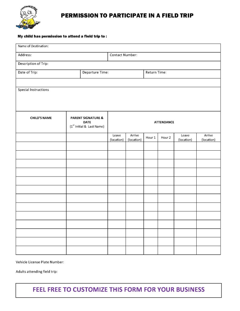 mileage logs forms checklists for child care providers field trip permission form