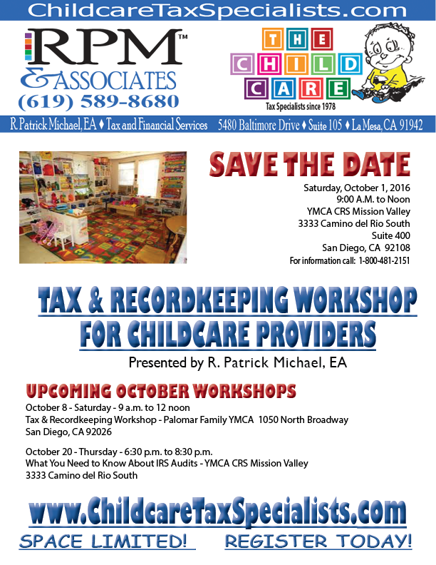 Tax and Recordkeeping Workshop October 1